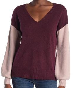 NWT 14th & UnionV-Neck Colorblock Burgundy Sweater